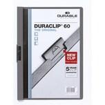 Durable Klemmmappe DURACLIP dunkelgrau Nr. 2209-57. Füllhöhe 60Bl mit Deckblatt