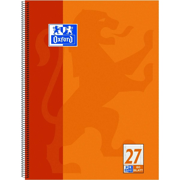Oxford Collegeblock A4 liniert orange Nr. 100050360 80 Blatt 4fach Lochung
