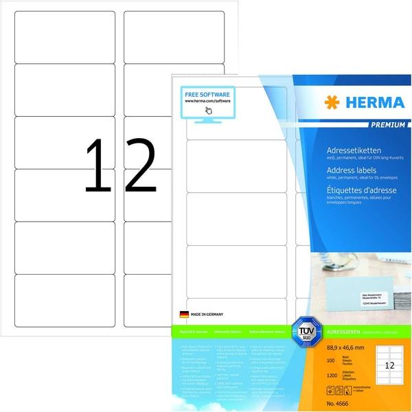 Herma Premium-Etikett Nr. 4666 weiß PA 1.200 Stück 889x466mm bedruckbar