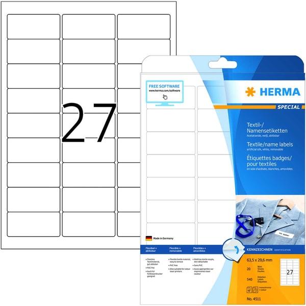 Herma Namensetikett Acetatseide Nr. 4411 PA 540 Stück 635x296mm weiß