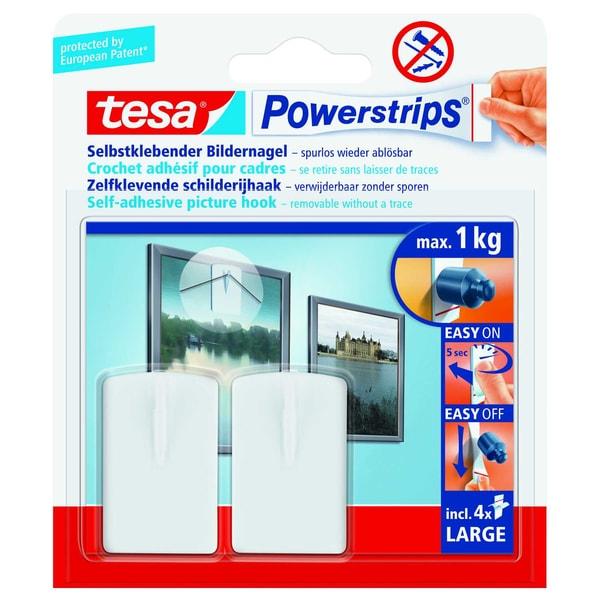 tesa Haken Powerstrips Large weiß 2Haken Nr. 58031-00020 4 Strips 30x120mm 1kg