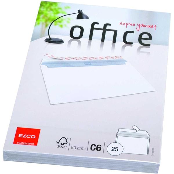 Elco Briefumschlag Office C6 haftklebend PA= 25St hochweiß ohne Fenster 80g/m
