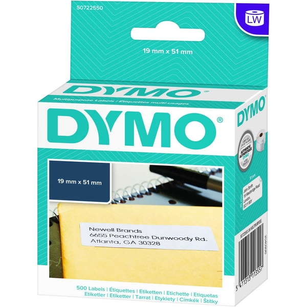 Dymo Vielzweck-Etikett S0722550 weiß PA 500 Etiketten/Rolle 19x51mm