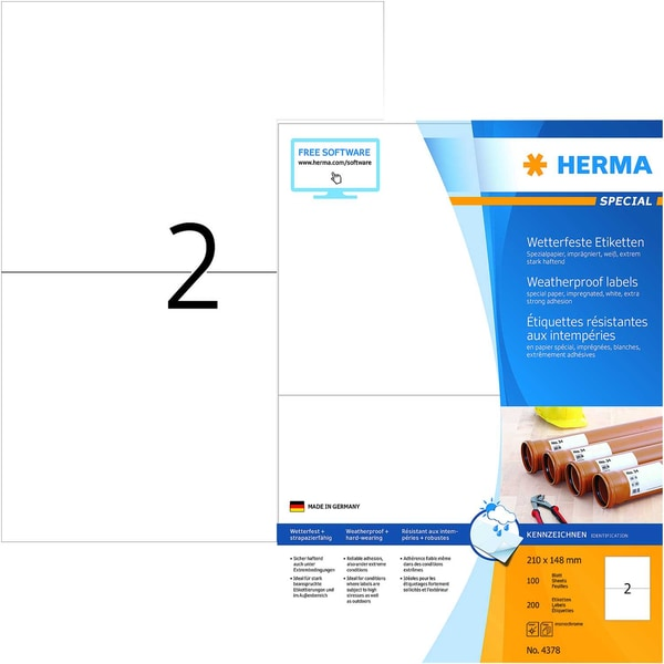 Herma Outdoor-Etiketten Nr. 4378 weiß PA 200 Stk 210x148mm