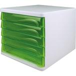Helit Schubladenbox economy lichtgrau Nr. H6129450 5 grün-transluzente Fächer