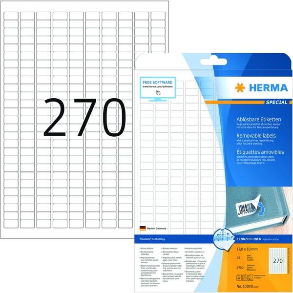 Herma Movables-Etikett Nr. 10000 weiß PA 6.750 Stk 178x10mm ablösbar