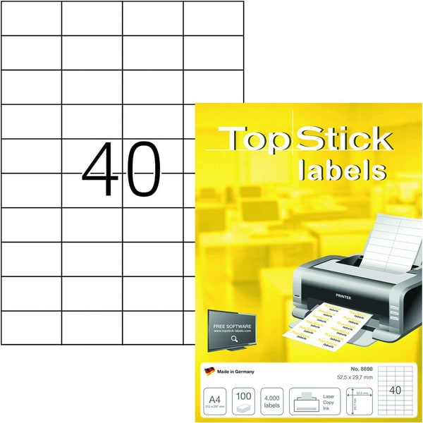 Etikett Top Stick 525x297mm weiß Nr. 8698 PA 4.000 Stk