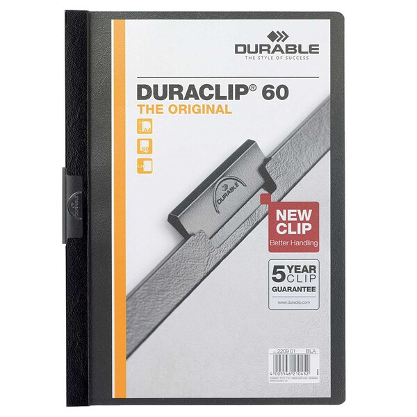 Durable Klemmmappe DURACLIP A4 schwarz Nr. 2209-01 Füllhöhe 60Bl mit Deckblatt