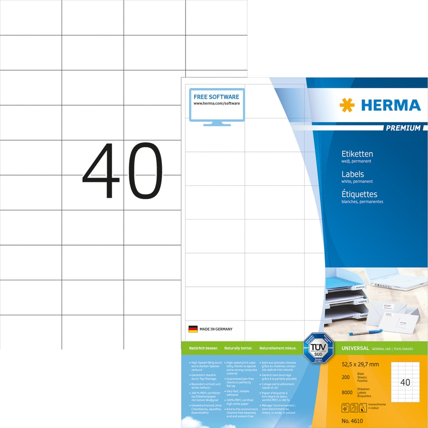 Herma Premium-Etikett Nr. 4610 weiß PA 8.000Stk 522x297mm