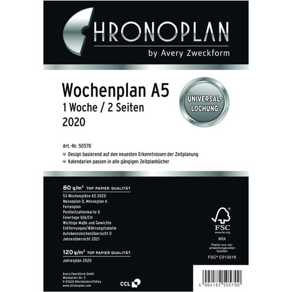Chronoplan Wochenplan A5 2020 Nr. 50570 1W/2S Einlage Kalender