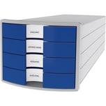 Han Schubladenbox Impuls Grau/Blau Nr. 1012-14 A4/C4 4Fächer Geschlossen