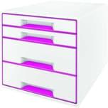 Leitz Schubladenbox Wow Cube A4 Nr. 5213-20-23 4 Fächer Weiß/Pink