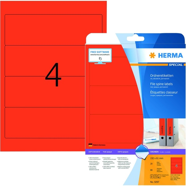 Herma Rückenschild Nr. 5097 rot PA 80Stk breit/kurz sk bedruckbar