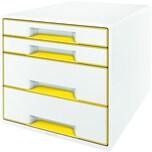 Leitz Schubladenbox WOW Cube A4 Nr. 5213-20-01. 4 Fächer. weiß/gelb