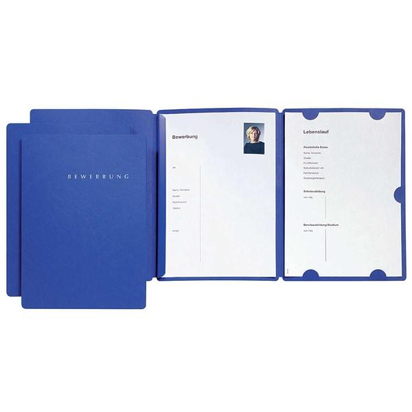 Pagna Bewerbungsmappe Select 22002 blau 3 Klappen und Klemmschiene