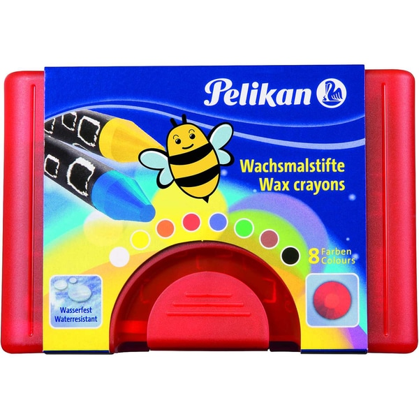Pelikan Wachsmalstifte rund wasserfest Box mit 8 Farben