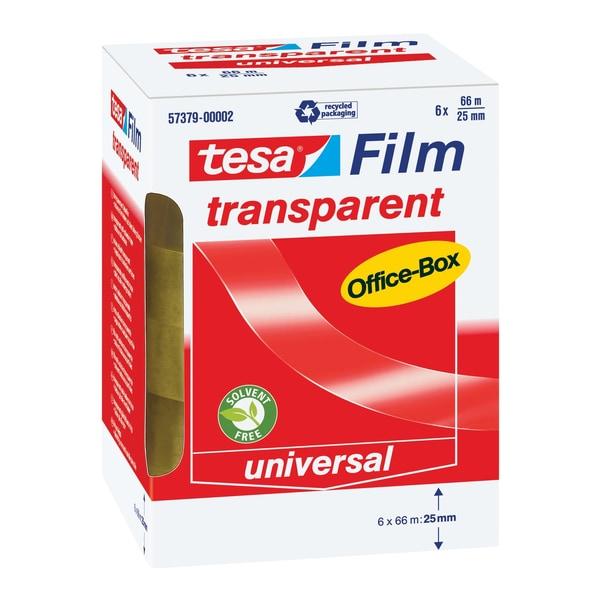 tesa Klebefilm 25mmx66m transparent Nr. 57379 PA= 6 Rollen Kern 76mm