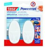 tesa Powerstrips Haken Large Oval weiß Nr. 58013-00049 2 Haken & 4 Strips 2kg