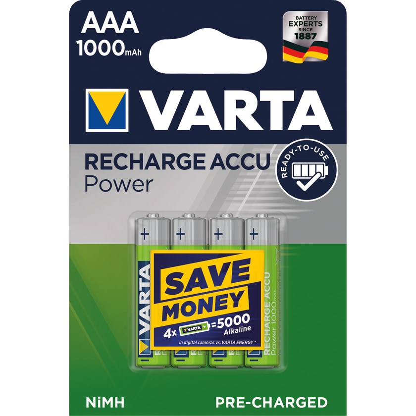 Varta Akku Pressionlal Micro AAA Nr. 5703301404. 1.2V. HR03.1.000mAh. PA= 4Stk