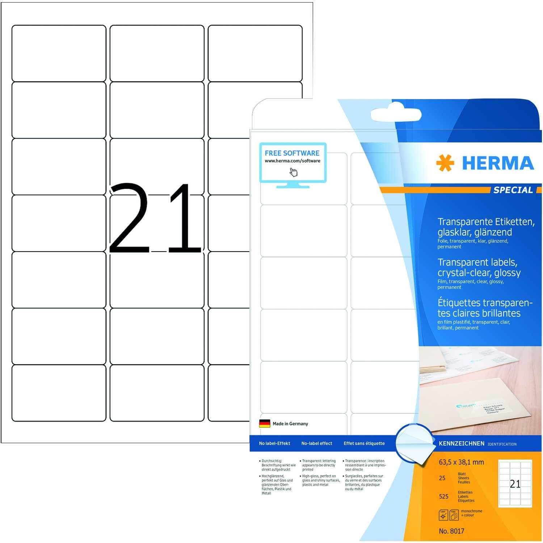 Herma Folien-Etikett Nr 8017 transparent PA 525Stk 635x381mm bedruckbar