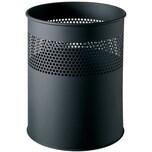 Helit Papierkorb Metall schwarz 15 Liter Nr. H2515795 Lochdekor Höhe 32cm