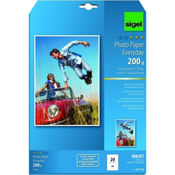 Sigel Inkjet Fotopapier Everyday A4 200g Nr. IP710 PA 20 Blatt hochglänzend