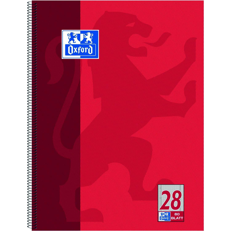 Oxford Collegeblock A4 kariert rot Nr. 100050361 80 Blatt 4fach Lochung