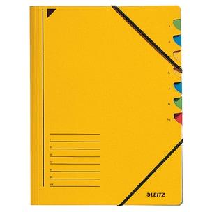 Leitz Ordnungsmappe A4 350g/m² gelb Nr. 3907-15 mit Gummiband 7 Fächer