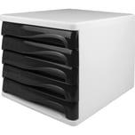 Helit Schubladenbox economy lichtgrau Nr. H6129498 5 schwarz Fächer