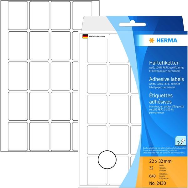 Herma Vielzwecketikett Nr. 2430 weiß PA 640 Stück 22mmx32mm