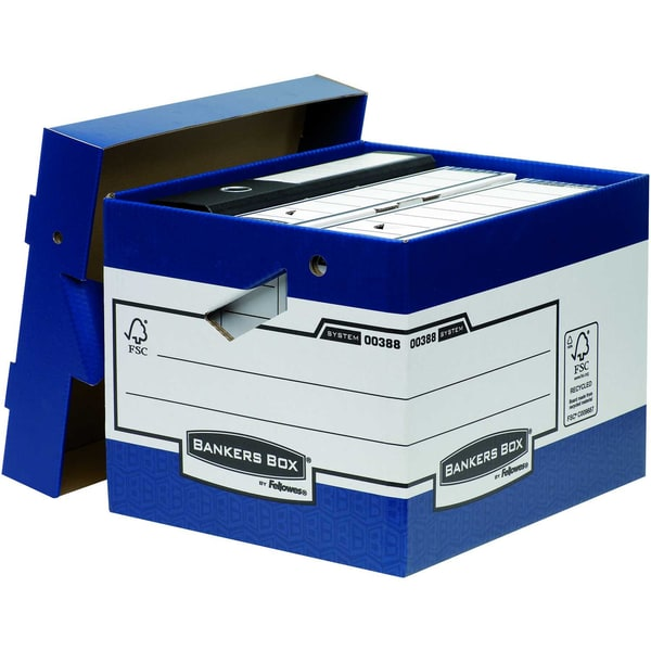 Bankers Box Archivbox Ergo Box Heavy Duty Nr. 0038801weiß/blau 333x285x39