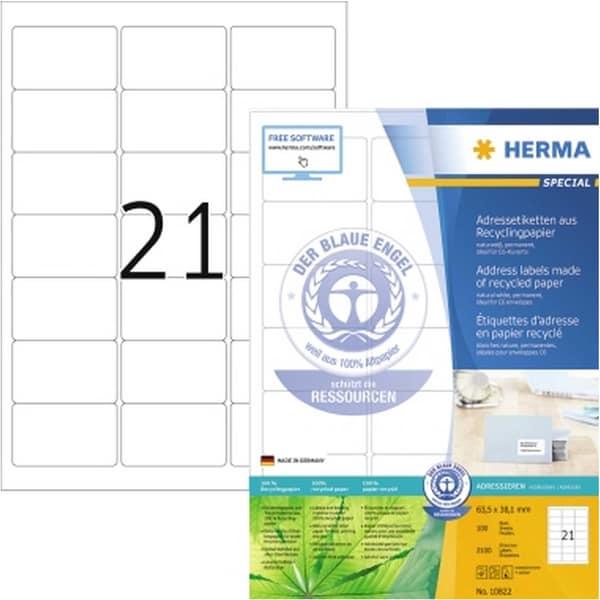 Herma Adressetikett Nr. 10822 naturweiß PA 2.100Stk sk 635x381mm