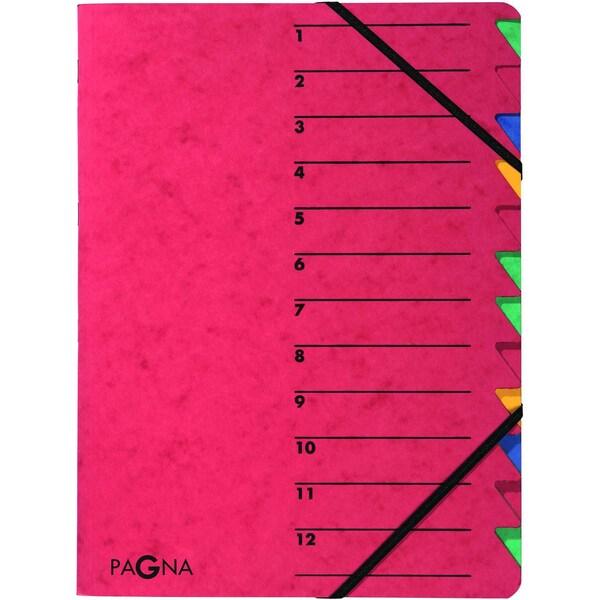 Pagna Ordnungsmappe A4 12 Fächer rot Nr. 24131-01 EASY 265g/m² Pressspan