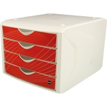 Helit Schubladenbox Chameleon A4/C4 Nr. H6129525 red rook 4 Fächer