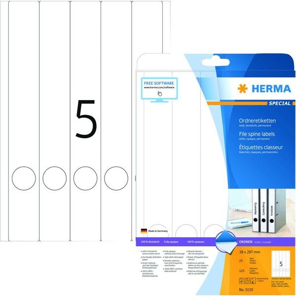 Herma Rückenschild Nr. 5130 weiß PA 125Stk schmal/lang mit Griffloch