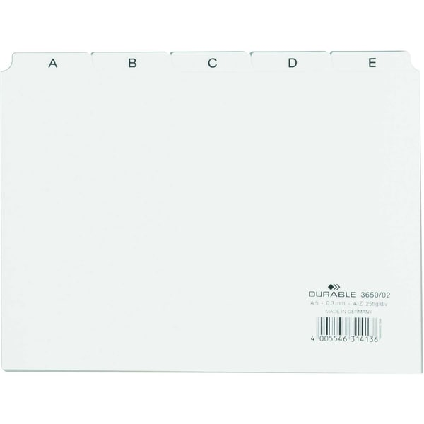 Durable Leitregister A5 quer A-Z PP weiß Nr. 3650-02 25-teilig
