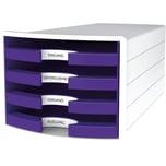 Han Schubladenbox Impuls Weiß/Lila Nr. 1013-57 A4/C4 4Fächer Offen