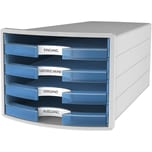 Han Schubladenbox Impuls Grau/Tr.Blau Nr. 1013-64 A4/C4 4Fächer Offen
