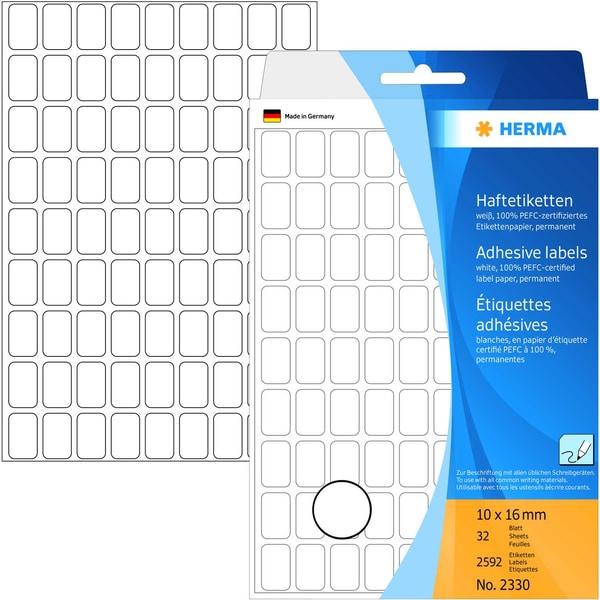 Herma Vielzwecketiketten Nr. 2330 weiß PA 2.592 Stück 10mmx16mm