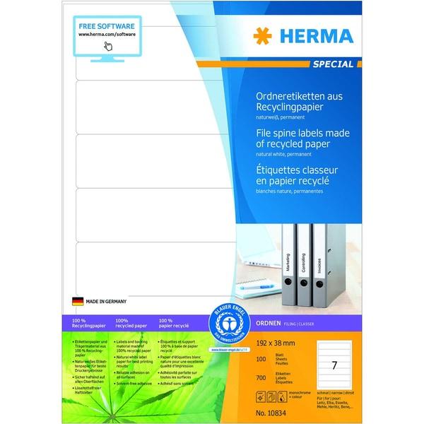Herma Rückenschild Nr. 10834 weiß PA 700 Stk kurz/schmal sk bedruckbar