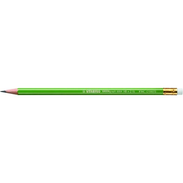 Stabilo Bleistift Greengraph 6-kant Nr. 6004/ HB Schaft grün mit Radierer