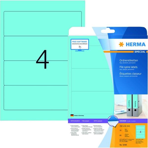 Herma Rückenschild Nr. 5098 blau PA 80Stk breit/kurz sk bedruckbar