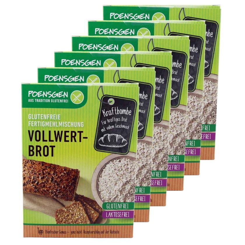 Poensgen 6x Vollwertbrot Backmischung Glutenfrei 500g – Vollkornbrot