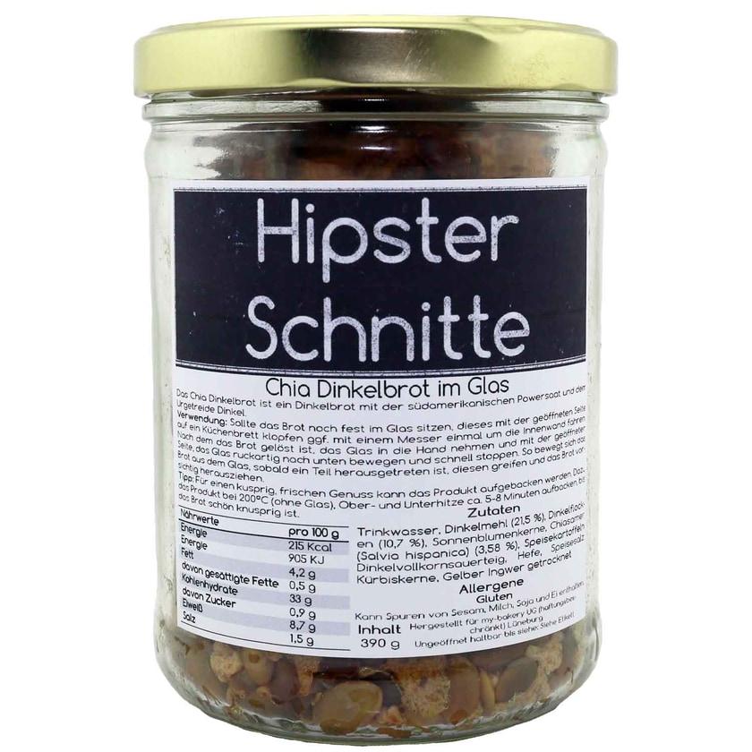 my-bakery Chia-Dinkelbrot im Glas mit Spruch - Hipster Schnitte 390 g