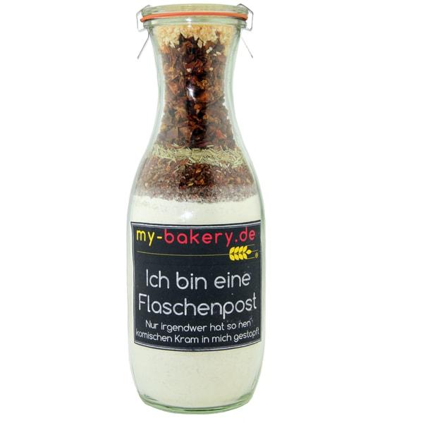 my-bakery Flaschenpost - Knoblauch Paprika Focaccia Brötchen Backmischung im Glas 680g