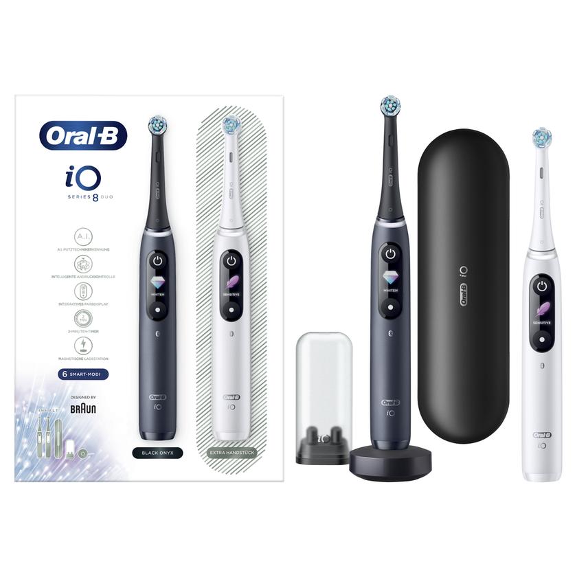 Oral-B iO Series 8 Elektrische Zahnbürste mit 2. Handstück (White Alabaster/Black Onyx)