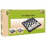 Natural Games 3-in-1 Magnetspiele Dame Schach und Backgammon