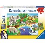 Ravensburger 2er Set Puzzle je 12 Teile 26x18 cm Tiere im Zoo