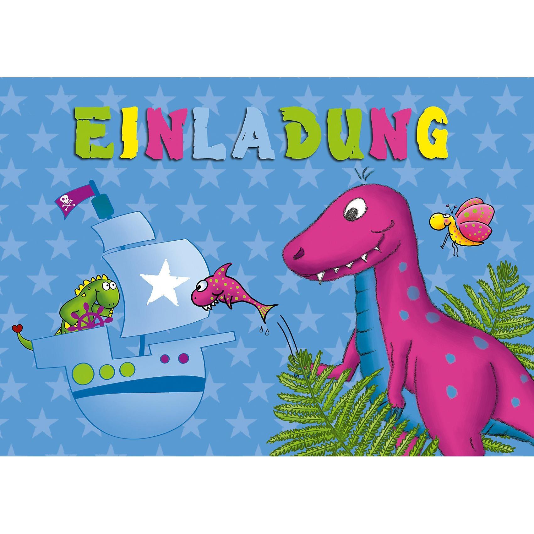 Grätz Verlag Einladungspostkarten Dinos 8 Stück
