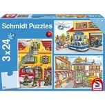 Schmidt Spiele Kinderpuzzleset 3 x 24 Teile Feuerwehr und Polizei